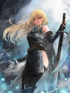 Download, 3000x4000, Fantasy, Anime, Girl, White, Wolf, Blonde, Sword, Cape, Long, Hair, Wallpapers