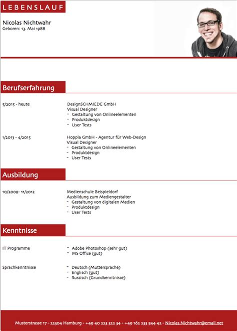 Lebenslauf Muster Ausbildung Kostenlos by Lebenslauf Muster 3 Rot Kostenlos Downloaden