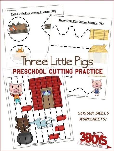 preschool cutting practice three pigs 3 boys and 908 | Three Little Pigs Preschool Cutting Practice