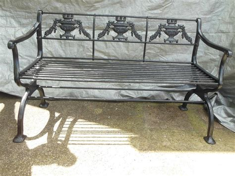 antique cast iron regency garden set bench and chairs for
