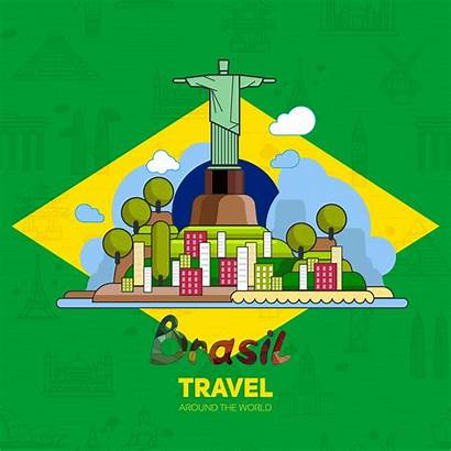 Brazilian Landmarks Background Flag Architecture Vector