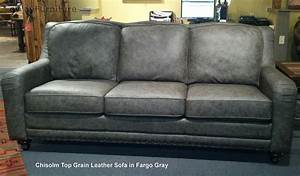Chisolm top grain leather sofa in fargo gray made in usa for Sectional sofas made in usa
