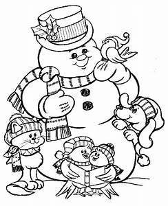 Christmas snowman Coloring Pages - Coloringpages1001.com