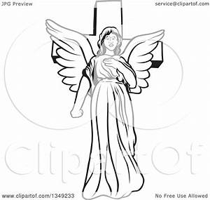 Clipart of a Black and White Female Angel in Front of a ...