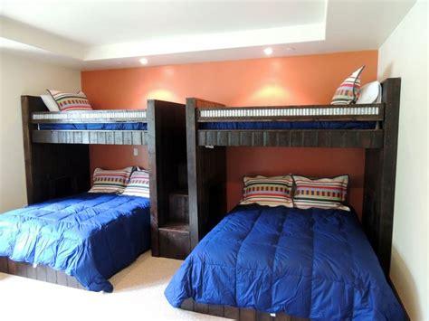 Custom Bunk Beds, Twin Lofts Over Queen Platform Beds