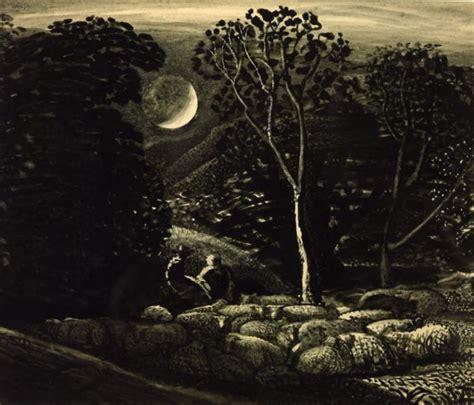 moonlight  landscape  sheep samuel palmer