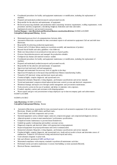 Auto Electrician Description Resume by Auto Electrician Resume