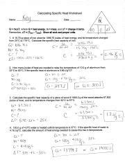 Worksheet  Calculating Specific Heat (1) Calculating