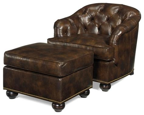 Wood And Leather Chair With Ottoman by New Ottoman Wood Leather Removable Leg Traditional