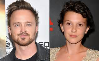 aaron paul interviews millie bobby brown stranger things aaron paul wants to adopt millie bobby