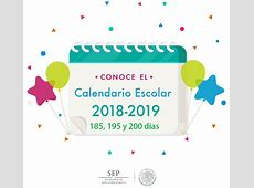 Calendario escolar 20182019 SEP 185, 195 y 200 días