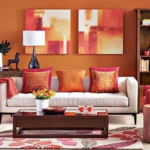 Modern orange living room decorating housetohomecouk for Orange decorating for living room