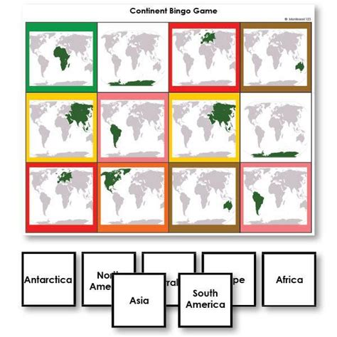 continent identification bingo game  world map images