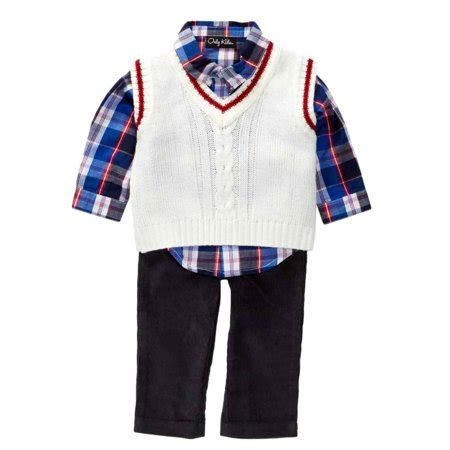 Only Kids Infant Boys 3 Piece Dress Up Outfit Pants Plaid Shirt Sweater Vest - Walmart.com