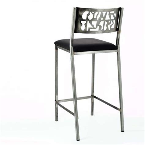 chaise de bar 4 pieds tabouret de bar en acier brossé slide industriel 4