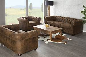 canape chesterfield 3 places marron chloe design With tapis design avec canapé style chesterfield