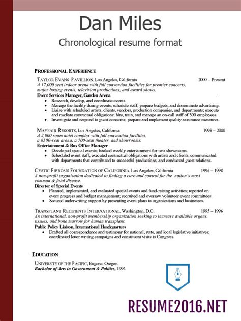 chronological resume format 2016 what s new