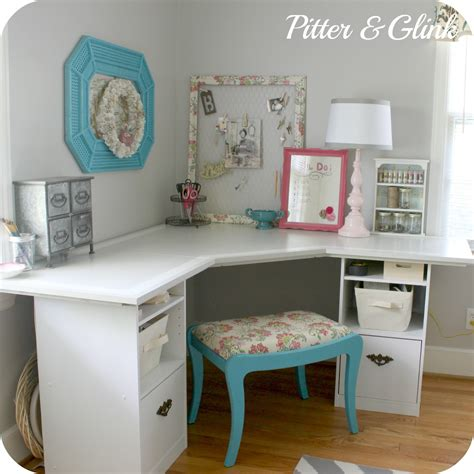 diy corner desk pitterandglink craft room corner desk
