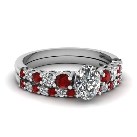 vintage bridal with ruby in 18k white gold fascinating diamonds