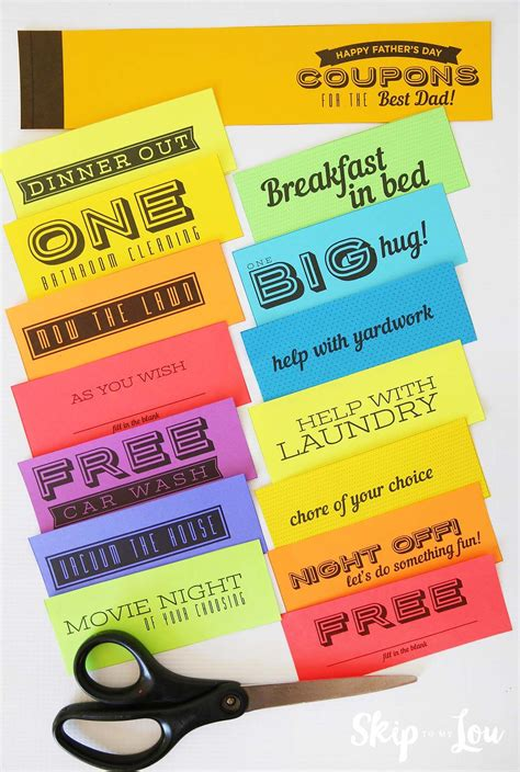 printable coupon book  dad   list minute