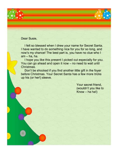 secret santa letter template secret santa letter church secret santa letter church 68441