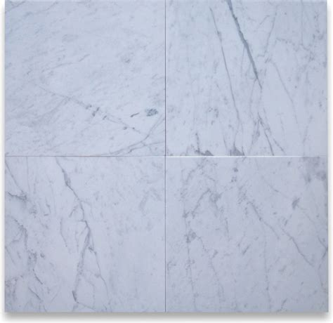 carrara white 18 x 18 tile honed marble from italy