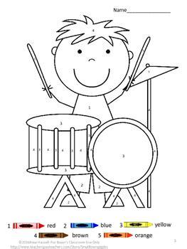 color by number music fine motor skills special education kindergarten
