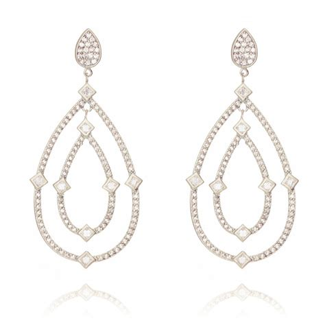 ingenious silver chandelier earrings with pave pear shapes
