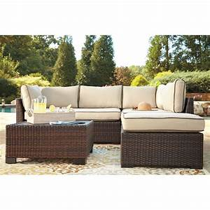 Signature design by ashley loughran outdoor sectional set for Sectional sofa set up
