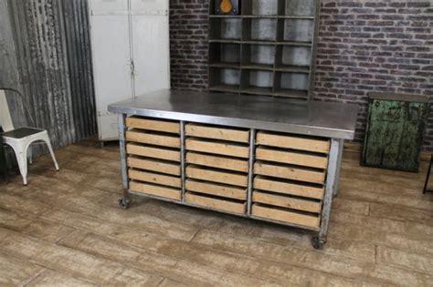 kitchen island table on wheels industrial kitchen island vintage steel table storage