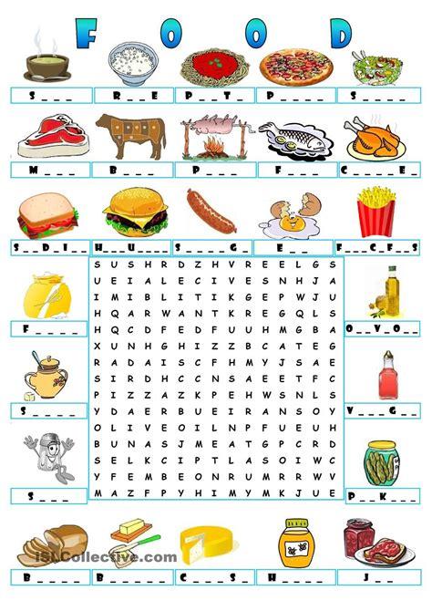 food wordsearch teaching the kids esl efl pinterest