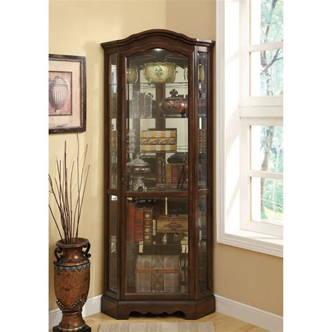 coaster glass curio cabinet in cappuccino coaster furniture 950175 5 shelf corner curio cabinet with