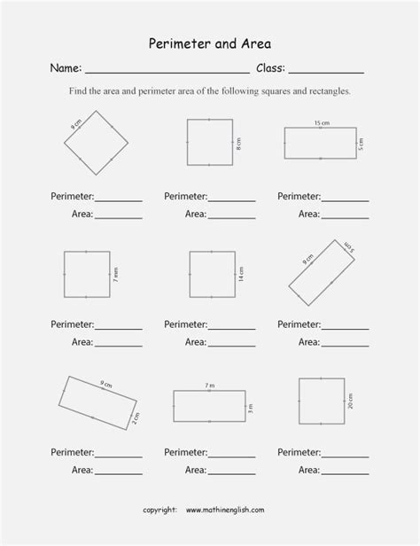 Easy Area And Perimeter Worksheets Dailypollco