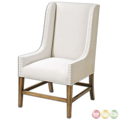 dalma neutral linen upholstery wood frame wing back chair