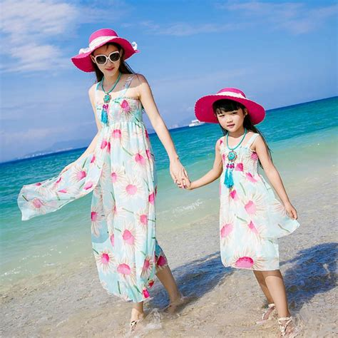 Authentic 2017 Mom and Daughter Dress Long Maxi Summer Vacation Dresses Family Matching Beach ...