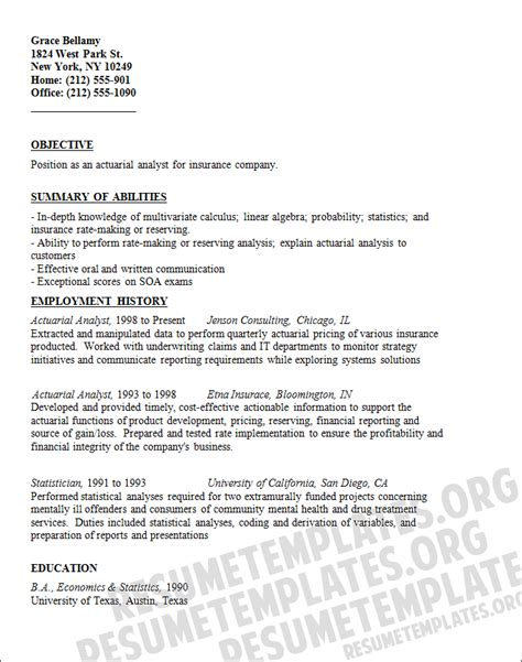actuarial analyst resume template resumetemplates org