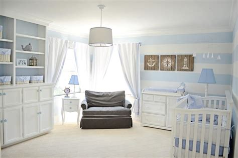 Lovely Powder Blue And White Nautical Baby Boy's Nursery