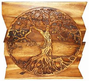 wall panel tree of life round on uneven boards 36x36x2 With kitchen cabinets lowes with tree of life carved wooden wall art