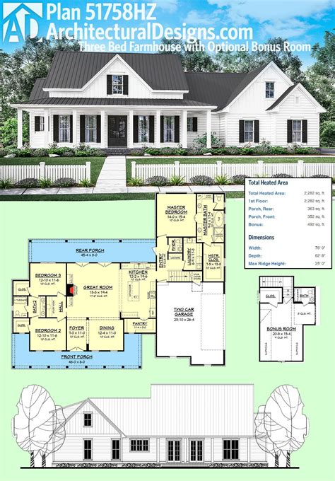 farmhouse floor plan plan 51758hz three bed farmhouse with optional bonus room