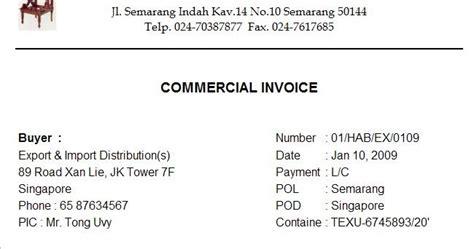 Pil Semarang Ruang Baca Ekspor Impor Commercial Invoice Invoice