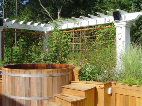 tub outdoor design 65 awesome garden hot tub designs digsdigs