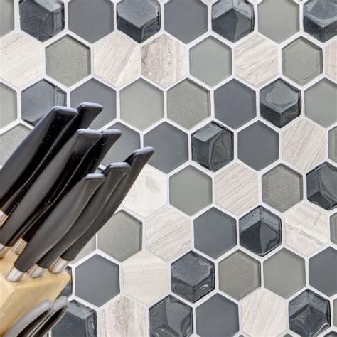Glas Naturstein Mosaik Fliesen Hexagon 3d Tm33492