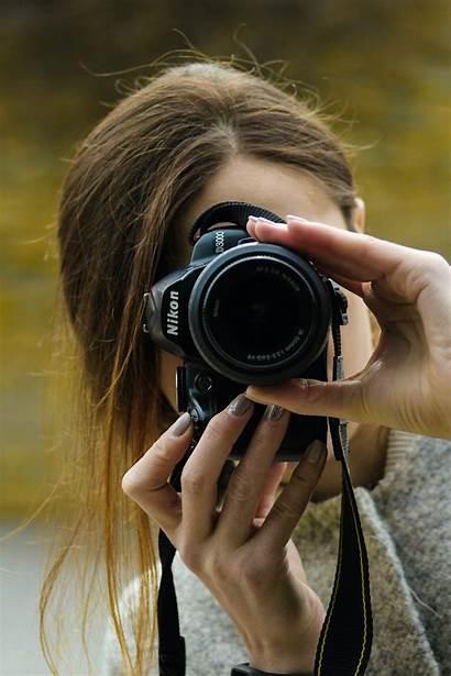 Woman Camera Using Close Person Nikon Holding