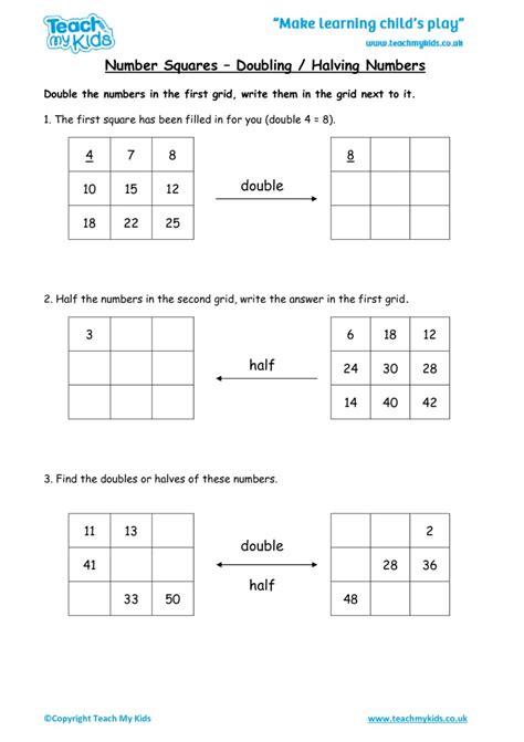 worksheet halving numbers kidz activities