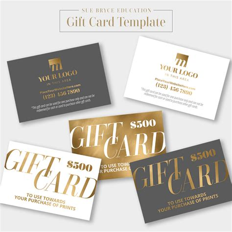 Gift Card Template Gold Foil Gift Card Template Sue Bryce Education