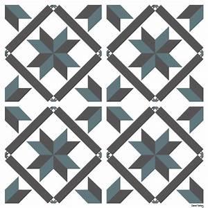 Stickers Imitation Carreaux De Ciment : sticker carreaux de ciment marguerite bleu gris ~ Melissatoandfro.com Idées de Décoration