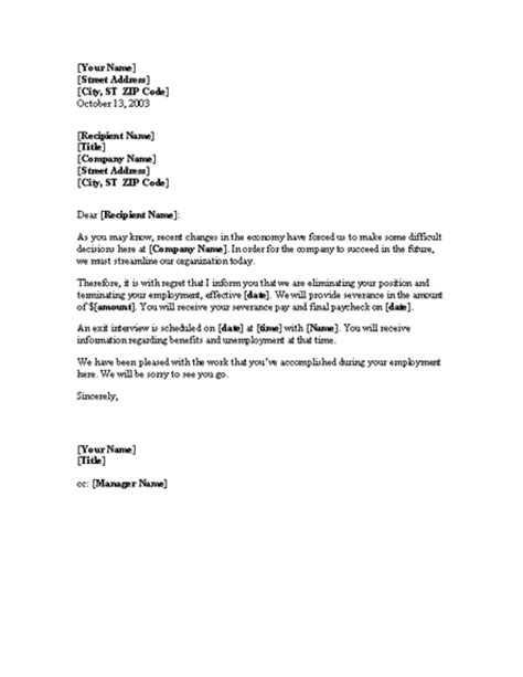 notice  layoff letter template  letters templates
