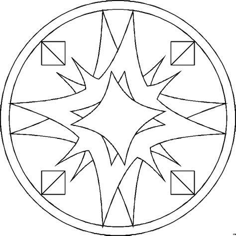 mandala gebogene vierecke ausmalbild malvorlage mandalas