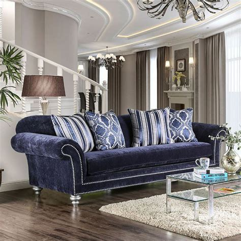 eleanor transitional navy blue microfiber sofa  rolled