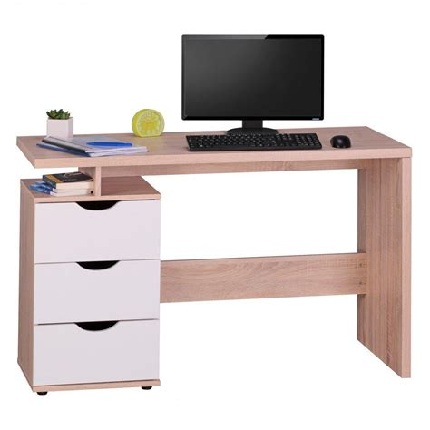 scrivania pc scrivania per computer natalie in legno con cassetti cm